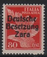 1943 Occupazione Tedesca Zara 80 C. P.a. MNH - Occup. Tedesca: Zara