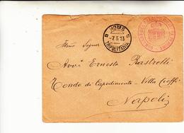 Homs Per Napoli . Cover Di Lettera In Franchigia Dal Comando Del Presidio Militare Di Homs Timbro In  Rosso. 1913 - Libyen