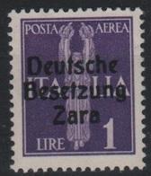 1943 Occupazione Tedesca Zara 1 L.  P.a. MNH - Occup. Tedesca: Zara