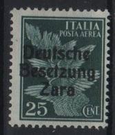 1943 Occupazione Tedesca Zara 25 C.  P.a. MNH - Occup. Tedesca: Zara