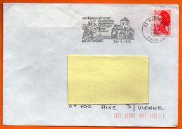 33 MONTAGNE   GRANDS VINS   1986      Lettre Entière N° FF 479 - Annullamenti Meccanici (pubblicitari)