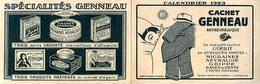"""Calendrier Publicitaire 1923 - """" Cachet GENNEAU """" - Calendar - Pub Publicité - AA77 - Calendriers"""