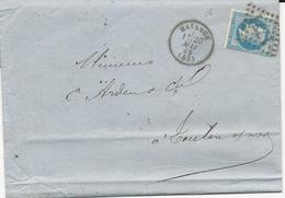 LETTRE D'HAYANGE 1869 AVEC CACHET A DATE TYPE 16 ET GROS CHIFFRE1771 - Alsace Lorraine