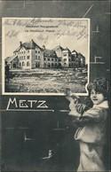CPA Metz Künstlerkarte - Mädchen, Neues Postgebäude 1908  - France
