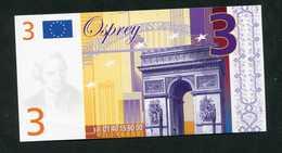 """Billet De 3 (euro) """"Osprey, Bijoutier à Paris Et Versailles"""" Billet Fantaisie - Fictifs & Spécimens"""
