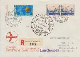 RARE ULTRAMARIN: Zu 44c Mi 507b Im Paar (+Fussball-WM) Auf SWISSAIR-Flug Genève-Sao Paulo 27.5.54  (Zu CHF 100.00) - Poste Aérienne