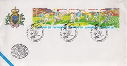San Marino 1994 World Cup Football Strip Of 5v FDC (F7451) - San Marino
