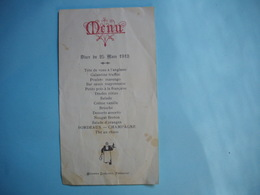 MENU Du 25 Mars 1913  -  Restaurant Etienne LEBLOND  -  FRECOURT  -  52  -  HAUTE MARNE - Menus