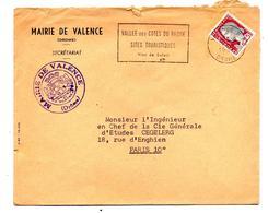 Lettre Flamme Valence Vin Tourisme Entete Mairie - Marcophilie (Lettres)