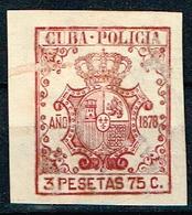 ANTILLAS ESPAÑOLAS,  POLICIA, 1878, 3,75 PESETAS - Cuba (1874-1898)