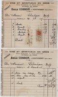 VP12.857 - Facture X 5 - Vins & Spiritueux En Gros Emile COSSON à PONTHIERRY - Levensmiddelen