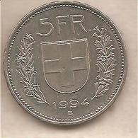 Svizzera - Moneta Circolata Da 5 Franchi - 1994 - Suiza