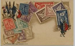 11 - 715 - CPA  - REPRESENTATION De TIMBRES FRANCAIS - Avant 1904 Dos Non Séparé éditeur : M.J. STEARCK - Paris - Timbres (représentations)