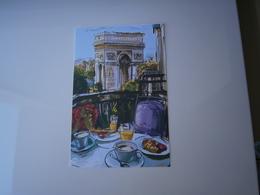 75 - PARIS  * L'ARC DE TRIOMPHE VUE D'UNE TERRASSE *  AQUARELLE  DESSIN  ILLUSTRATION - Triumphbogen