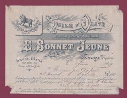 020918 - 13 SALON DE PROVENCE - 1899 PUBLICITE En Tête Facture  Huile D'olive Savon SONNET JEUNE Lion Parfumerie - Salon De Provence