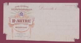 020918 - 12 DECAZEVILLE -  PUBLICITE En Tête Facture H ARTRU étiquette Conserve Liqueur établlissement Lithographique - Decazeville