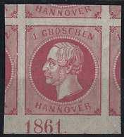 Allemagne Hanovre N°17 ** Rose/gomme Rose Tous Les Voisins + Numero D'année 1861, Fraicheur Postale...LUXE !! - Hanovre