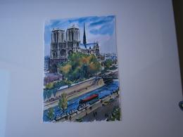 75 - PARIS * NOTRE DAME AU BORD DE LA SEINE ANIMEE - BOUQUINISTES * AQUARELLE DESSIN  ILLUSTRATION D'ALFAU - Notre Dame Von Paris