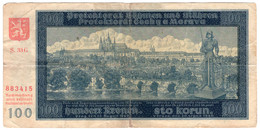 BOHEMIA & MORAVIA,100 KORUN,1940,P.7,F+ - Tchécoslovaquie