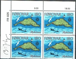 Faroe Islands 1978. Mykines. Michel 35, Plate Block MNH.  Signed. - Féroé (Iles)