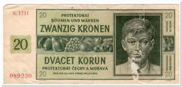 BOHEMIA Y MORAVIA,20 KORUN,1944,P.9,CIRCULATED - Tchécoslovaquie