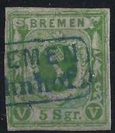 Allemagne BREME N°4  5 Silbergroschen Oblitéré BREMEN BAHNOF En Bleu Signé - Bremen