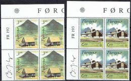 Faroe Islands 1990.  CEPT.  Michel 194-97,  Plate Block  MNH.  Signed. - Féroé (Iles)