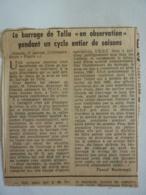 """EXTRAIT De Journal-  Anomalie De Mise En Eau-AJACCIO 17 Janvier -LE Barrage De Tolla """"mis En Observation 1961""""  Clas 4 - 1800 - 1849"""