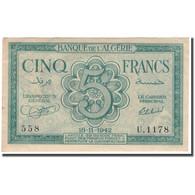 Billet, Algeria, 5 Francs, 1942-11-16, KM:91, SUP - Algérie