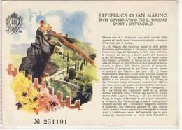 REPUBBLICA DI SAN MARINO ENTE GOVERNATIVO PER IL TURISMO SPORT E SPETTACOLO BIGLIETTO - Tickets - Vouchers