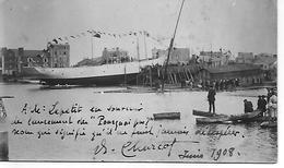 """LANCEMENT DU """" POURQUOI PAS """" Juin 1908 Autographe Sur Photocarte De CHARCOT  CARTE UNIQUE - Saint Malo"""