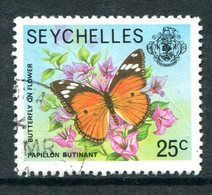Seychelles 1977-84 Wildlie - No Imprint Date - 25c Butterfly Used (SG 408A) - Seychelles (1976-...)