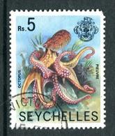 Seychelles 1977-84 Wildlie - No Imprint Date - 5r Octopus Used (SG 416A) - Seychelles (1976-...)
