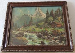 """Sign: """"Rob. Kämmerer"""" (verm. D. Ä.1870-1950) Verm. Tempera. """"Wildbach Mit Almhütte Und Kühen"""" - Autres Collections"""