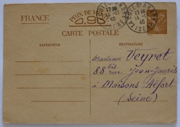 CARTE POSTALE ENTIER POSTAL 1940 / TIMBRE IRIS MARRON / 0,90 FRANC - Verso Avec Texte Préimprimé à Compléter - Entiers Postaux