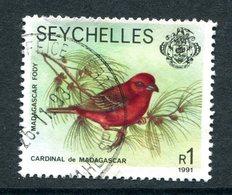 Seychelles 1981-91 Wildlife - 1991 Imprint Date - 1r Red Fody Used (SG 487) - Seychelles (1976-...)
