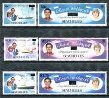 Seychelles 1983 Royal Wedding - Surcharges Set MNH (SG 573-578) - Seychelles (1976-...)