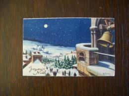 """Carte Postale Mignonnette """"Joyeux Noël"""" Illustrée Par M.Vivier (cloche, Neige...) - Other"""