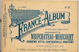 Vosges 88 France Album De A. KARL, Carte Gravures Texte Publicités 1896 - Dépliants Touristiques