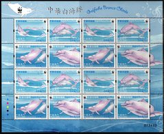 MACAO, 2017, MNH, WWF, CHINESE WHITE DOLPHIN, DOLPHINS,SHEETLET OF 4 SETS - W.W.F.