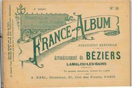 Hérault 34 France Album De A. KARL, Carte Gravures Texte Publicités 1895 - Dépliants Touristiques