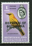 Botswana 1 Cent 1966 Single Bird Stamp Of Bechuanaland Overprinted 'Republic Of Botswana' - Botswana (1966-...)