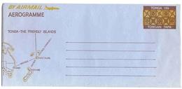 Tonga Aérogramme Aerogram Air Letter Entier Entero Ganzsache Lettre Carta Belege Airmail Cover Map Carte Géographique - Tonga (1970-...)