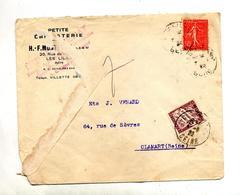 Lettre Cachet Les Lilas Sur Semeuse Taxee Clamart - Postmark Collection (Covers)