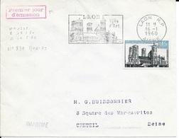 TIMBRE N° 1235  FRANCE - LAON - FLAMME : LAON / VILLE / D'ART  -  IER JOUR MAXIMUM N° 839a DU TIMBRE  - SEUL SUR LETTRE - Marcophilie (Lettres)
