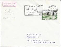 TIMBRE N° 1240  FRANCE - CHAUMONT - FLAMME  CHAUMONT  -  IER JOUR MAXIMUM N° 817a DU TIMBRE  - SEUL SUR LETTRE - FDC