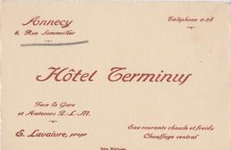 Hôtel TERMINUS à ANNECY (74) Face à La Gare. LAVAIVRE Propriétaire - Visiting Cards