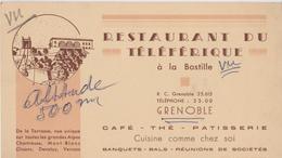 Hôtel Restaurant Du TELEFERIQUE à GRENOBLE (38) Années 30 - Visiting Cards