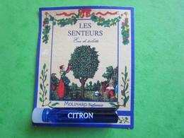 MOLINARD - LES SENTEURS - CITRON -  (collector - Ne Pas Utiliser) Date Des Années 1990 - Echantillon Tube Sur Carte - Perfume Samples (testers)