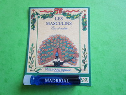 MOLINARD - LES MASCULINS - MADRIGAL -  (collector  Ne Pas Utiliser) Date Des Années 1990 - Echantillon Tube  Carte - Perfume Samples (testers)